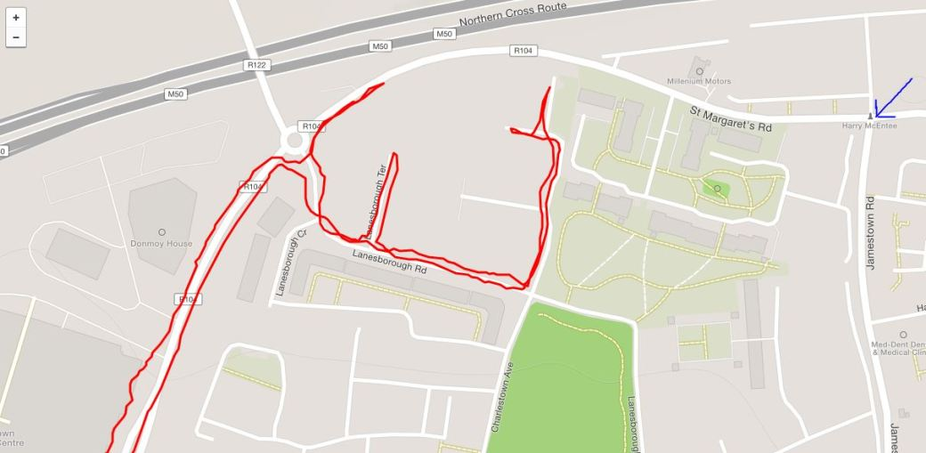 Our route in red trying to reach Meakstown and the correct location of Meakstown shown by the blue arrow